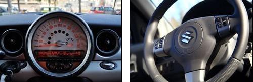 mini的仪表盘(左)与雨燕的方向盘(右)