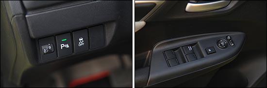 而在仪表台左侧位置处,还设有大灯高度调节、雷达、以及只有顶配车型才配备的VSA车身稳定控制系统。虽然设计简单却十分的便捷顺手。同时,在驾驶员侧车门拉手位置处,设有后视镜电动调节折叠功能,车窗玻璃升降开关按键。  同时2014款广汽本田飞度1.5L领先版顶配车型还配备了无钥匙进入以及一键式启动功能。