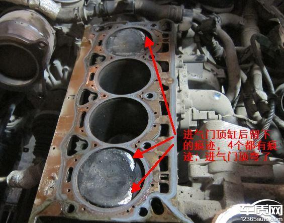 斯柯达明锐发动机正时链条故障导致顶缸图片