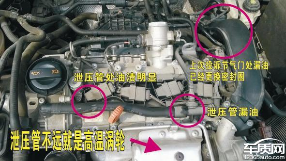 一汽大众速腾发动机多处漏油高清图片
